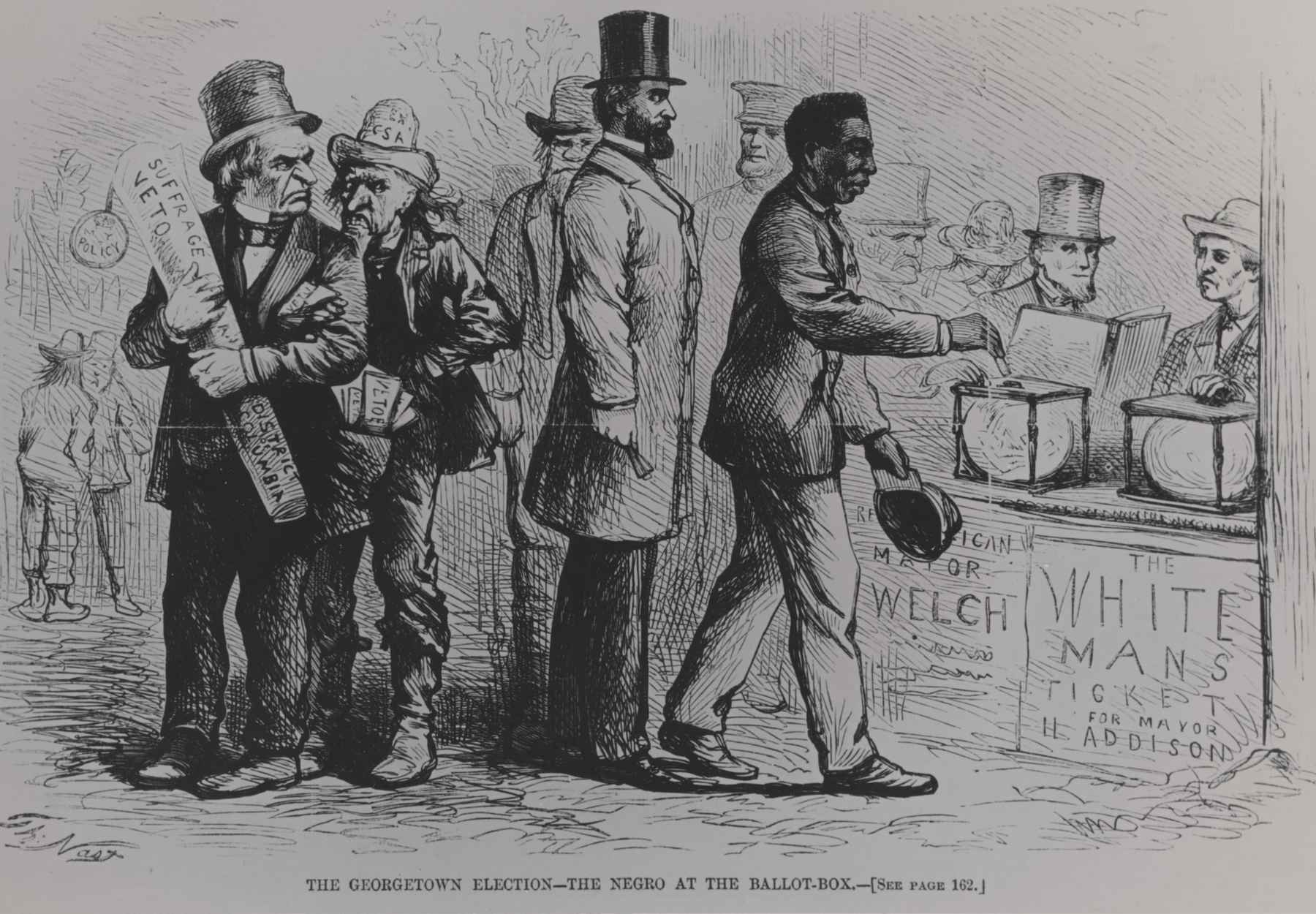 "Political cartoon by Thomas Nast of the ""Georgetown Election"", Harper's Weekly, March 16, 1867. Figure in the far left corner is a caricature of President Andrew Johnson."
