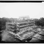 Georgetown College, White-Gravenor Hall being constructed, 1932. The burial grounds underneath moved to Holy Rood and Mt Olivet Cemetery.
