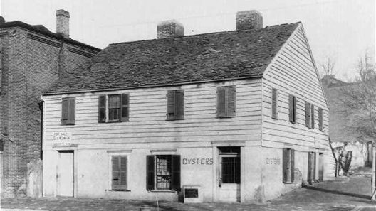 • Suter Tavern, K Street at 31st, Washington, DC, 1 1850 – 1880. Photograph shows a tavern originally called the Fountain Inn in the Georgetown neighborhood of Washington, D.C. The building was razed in the mid-19th century. (Source: Historical Dictionary of Washington (Part 3), Robert Benedetto.