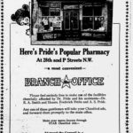 Newspaper advertisement for Pride's Pharmacy at 28th and P Street.