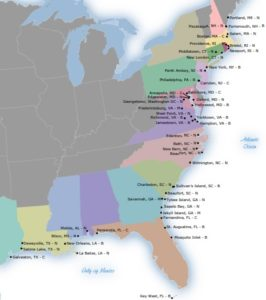 Documented Middle Passage Sites in the Continental United States