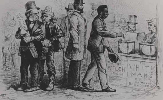 """Political cartoon by Thomas Nast of the """"Georgetown Election"""", Harper's Weekly, March 16, 1867. Figure in the far left corner is a caricature of President Andrew Johnson."""
