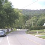 Yarrowsburg's street, view with no commercial buildings in the community.