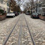 Restored Streetcar tracks on O Street.
